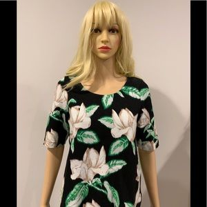 Anthropologie black floral print tee with side zip